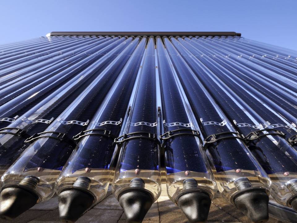 Low angle detail of evacuated tube solar collector